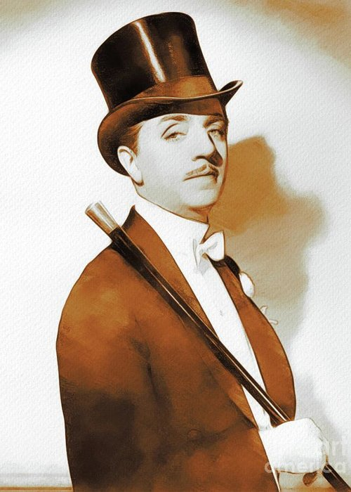 William Greeting Card featuring the digital art William Powell, Hollywood Legend by John Springfield