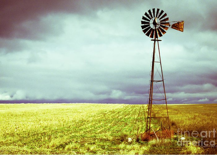 Canada Greeting Card featuring the photograph Windmill Against Autumn Sky by Gordon Wood