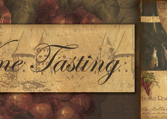 Wine Greeting Card featuring the painting Wine Tasting Collage by Grace Pullen