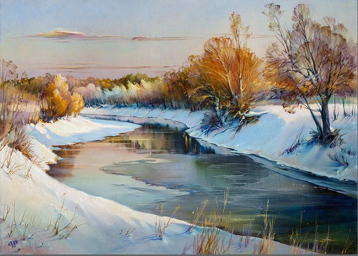 Winter Evening Greeting Card featuring the painting Winter Evening by Roman Romanov