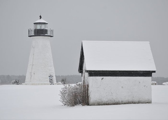 Neds Point Lighthouse Greeting Card featuring the photograph Winter Light by Catherine Reusch Daley
