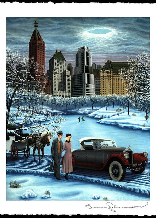 Plaza Hotel Greeting Card featuring the painting Winter Wonderland by Tracy Dennison