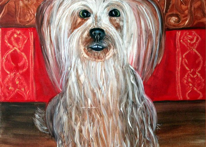 Dog Greeting Card featuring the painting Wishbone by Pilar Martinez-Byrne