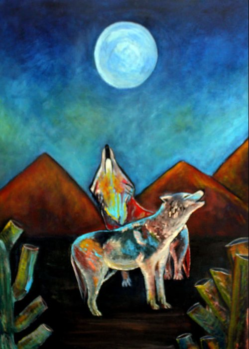 Wolves Greeting Card featuring the painting Wolves Howling at the Moon by Pilar Martinez-Byrne