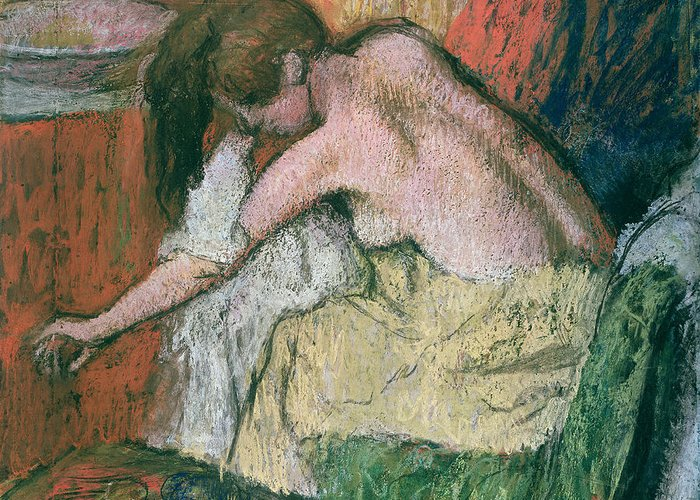 Woman Greeting Card featuring the pastel Woman Drying Herself by Edgar Degas
