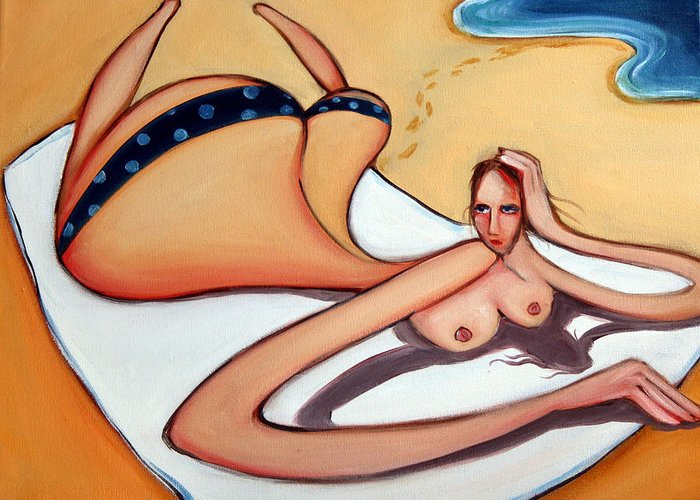 Beach Greeting Card featuring the painting Woman In January by Leanne Wilkes
