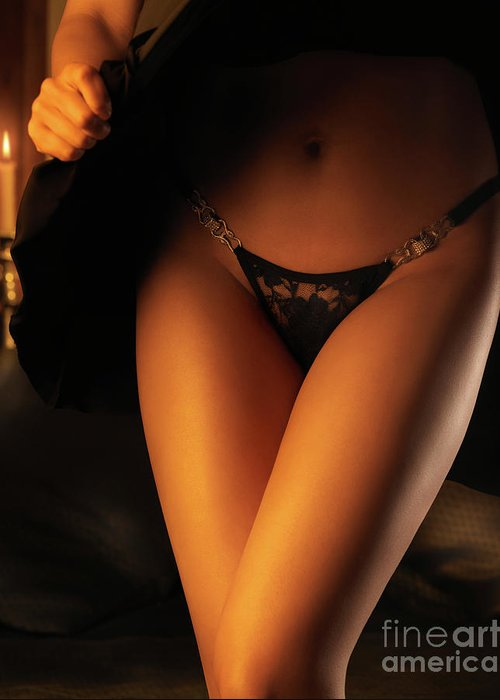 Lingerie Greeting Card featuring the photograph Woman Wearing Black Lacy Panties by Oleksiy Maksymenko
