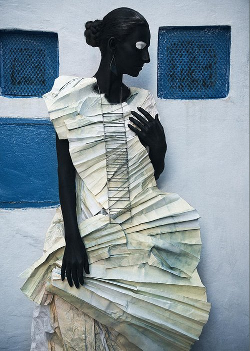 Black Greeting Card featuring the photograph Woman With Black Boby Paint In Paper Dress by Veronica Azaryan