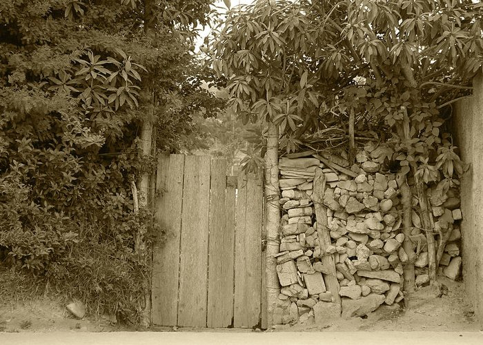 Gate Greeting Card featuring the photograph Wood Gate In A Wall Of Stones by Robert Hamm