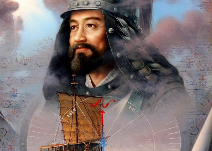 Sea Captain Greeting Card featuring the painting World Unification Blue Or Sea Captain by Yoo Choong Yeul