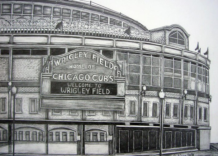 Wrigley Field Greeting Card featuring the drawing Wrigley Field by Juliana Dube
