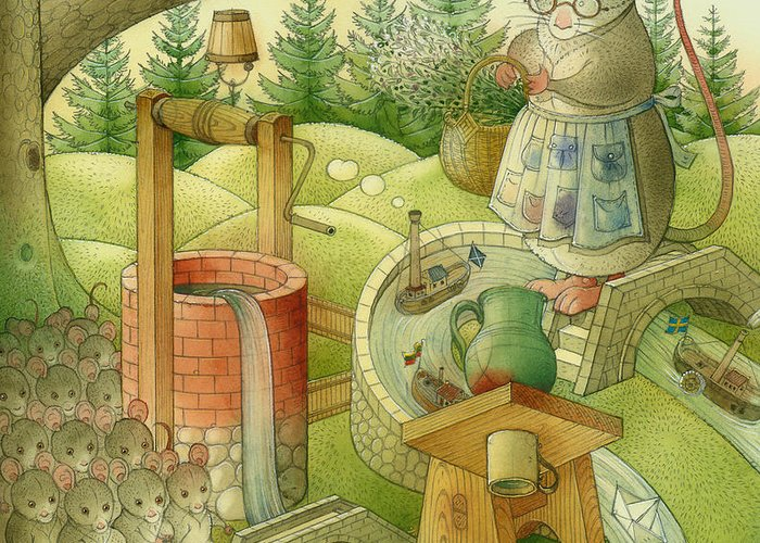Landscape Greeting Card featuring the painting Wrong World by Kestutis Kasparavicius