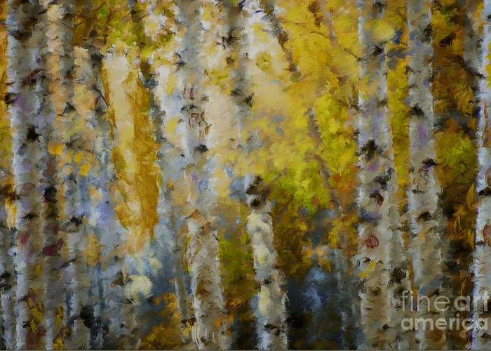 Aspens Greeting Card featuring the mixed media Yellow Aspens by Marilyn Sholin