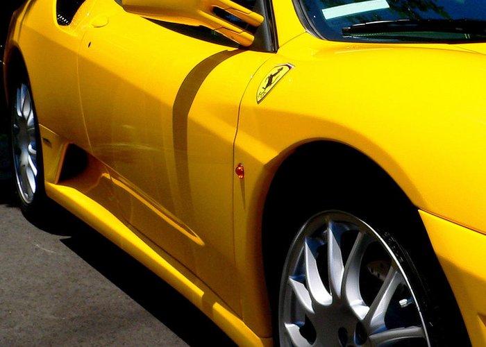 Yellow Ferrari Greeting Card featuring the photograph Yellow Ferrari by Jeff Lowe