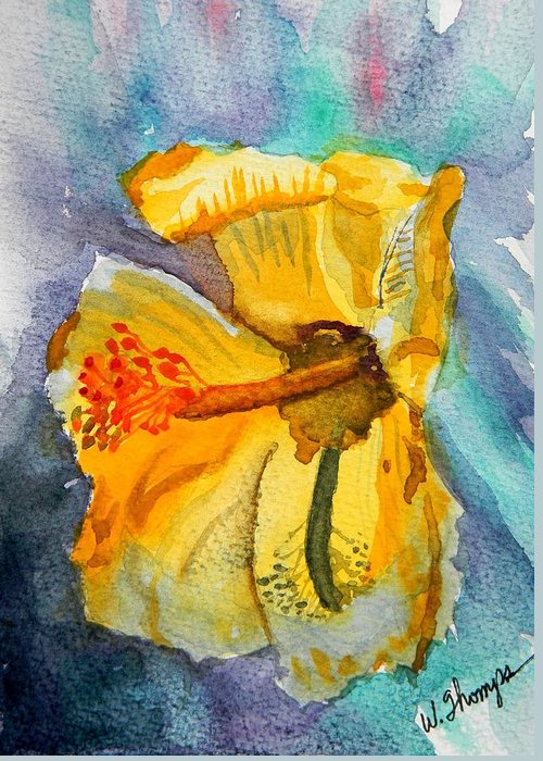 Yellow Hibiscus Shadows Greeting Card featuring the painting Yellow Hibiscus Shadows by Warren Thompson