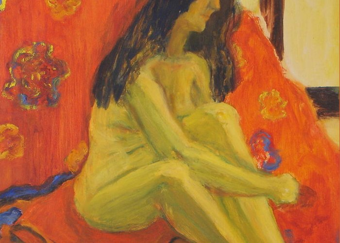 Yellow Greeting Card featuring the painting Yellow Nude by Lessandra Grimley