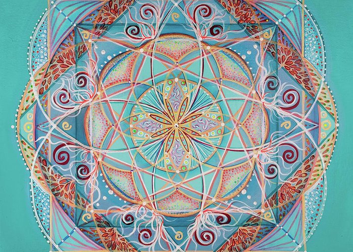 Mandala Greeting Card featuring the painting Yogi By The Sea by Angel Fritz