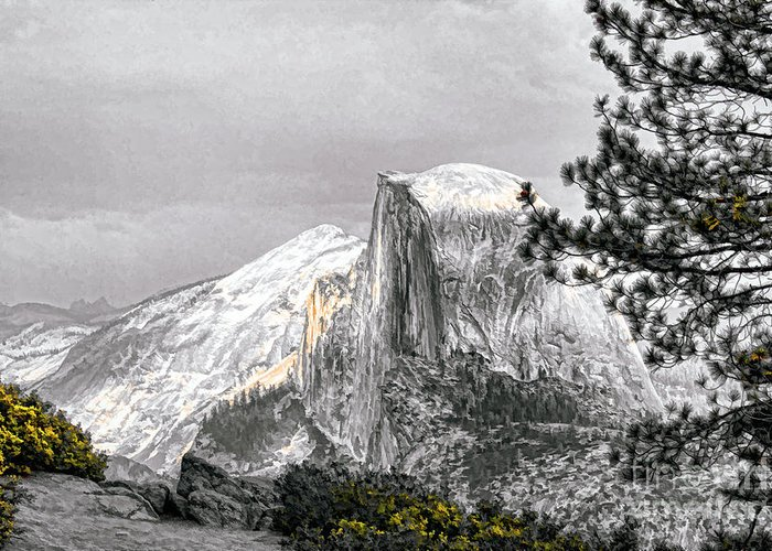 Yosemite Greeting Card featuring the photograph Yosemite Half Dome by Chuck Kuhn