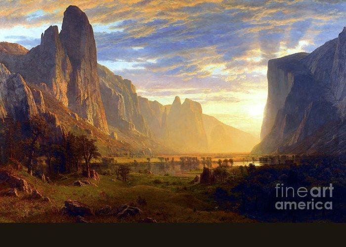 Albert Bierstadt Greeting Card featuring the painting Yosemite Valley by Albert Bierstadt