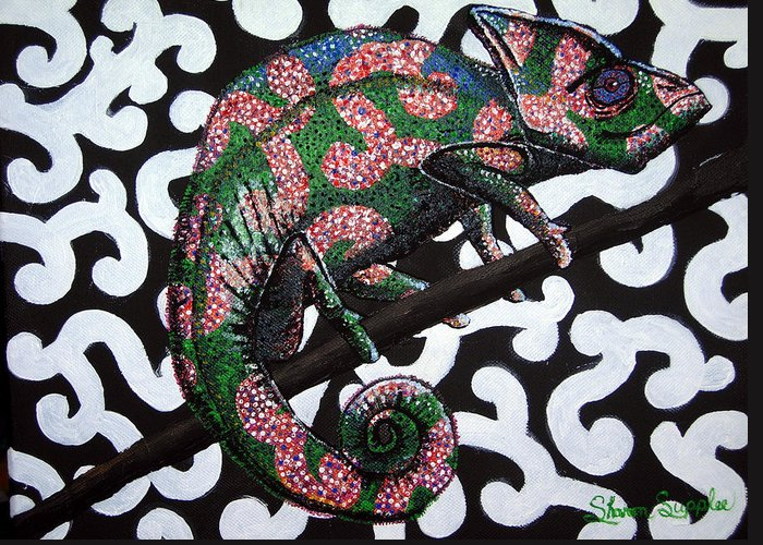 Chameleon Greeting Card featuring the painting You Cant See Me by Sharon Supplee