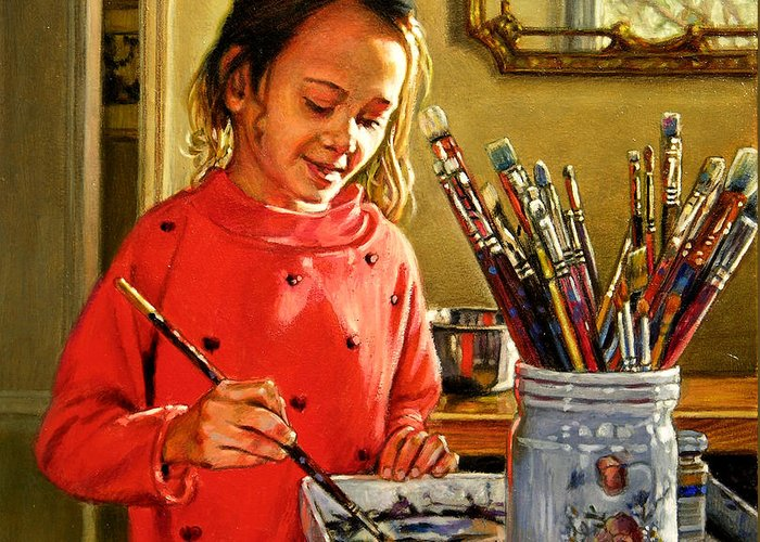 Young Girl Painting Greeting Card featuring the painting Young Artist by John Lautermilch