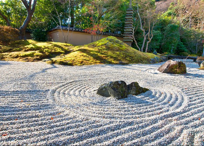 Abstract Greeting Card featuring the photograph Zen Garden At A Sunny Morning by Ulrich Schade