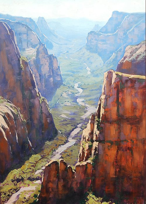 Paintings Greeting Card featuring the painting Zion Canyon by Graham Gercken