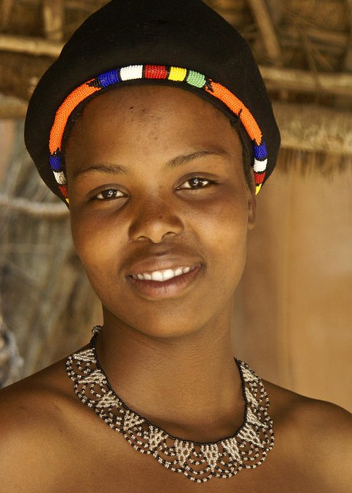 Africa Greeting Card featuring the photograph Zulu Maiden by Michele Burgess