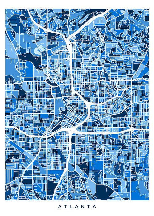 City Map Of Atlanta Georgia.Atlanta Georgia City Map Greeting Card For Sale By Michael Tompsett