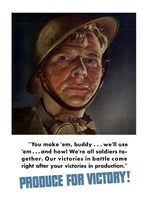 Soldier Greeting Card featuring the painting Produce For Victory by War Is Hell Store