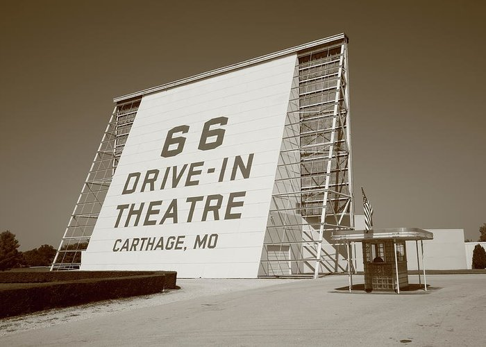 66 Greeting Card featuring the photograph Route 66 - Drive-in Theatre by Frank Romeo
