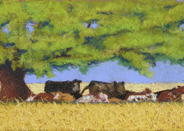 Cows Greeting Card featuring the pastel 100 Degrees Plus by Tracy L Teeter