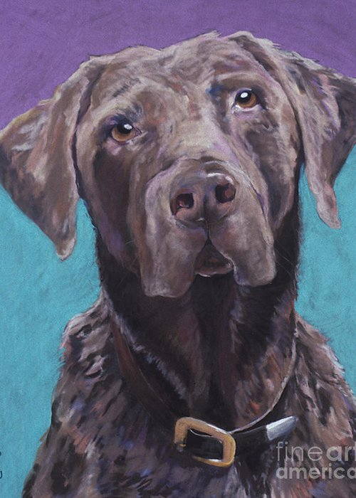 Pet Portrait Commissions Greeting Card featuring the pastel 100 Lbs. Of Chocolate Love by Pat Saunders-White