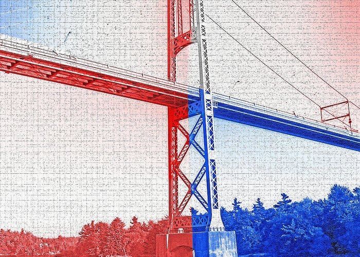 Bridges Greeting Card featuring the photograph 1000 Island International Bridge 2 by Steve Ohlsen
