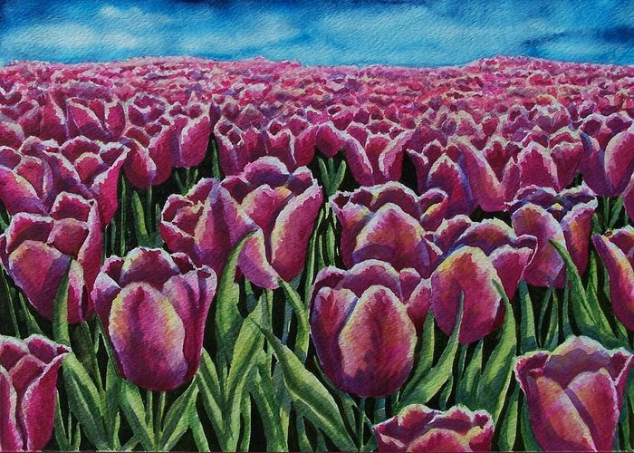Tulips Greeting Card featuring the painting 1000 Tulpis by Conni Reinecke