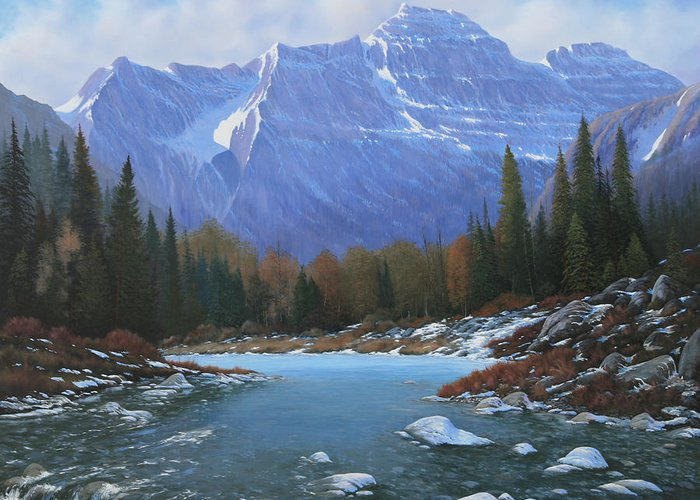 Rocky Mountain Landscape Greeting Card featuring the painting 100129-4860 Winters Early Arrival by Kenneth Shanika