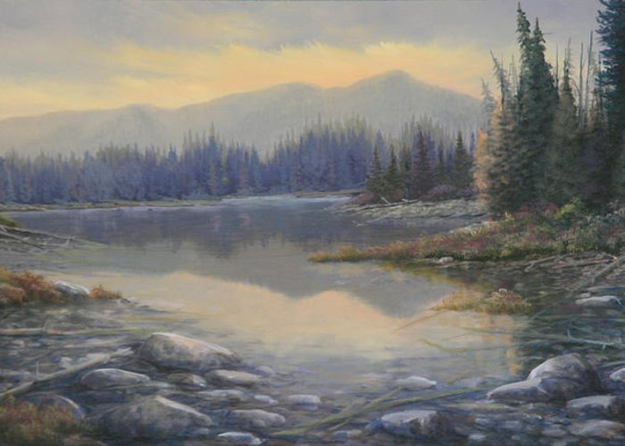 Rocky Mountains Greeting Card featuring the painting 100408-1224 Evening Serenity by Kenneth Shanika
