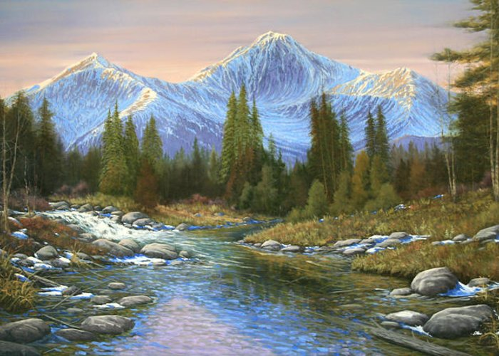 Landscape Greeting Card featuring the painting 100807-3060 Seasons Change by Kenneth Shanika