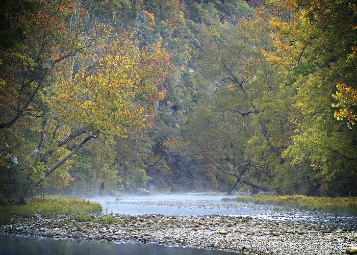 Arkansas Greeting Card featuring the photograph 1010-3979 Buffalo River Boxley Valley Fall by Randy Forrester