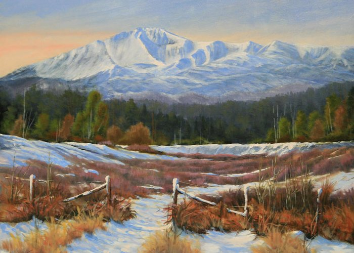 Pikes Peak Greeting Card featuring the painting 101202-1620 Winter Wonderland by Kenneth Shanika