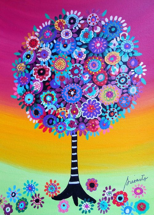 Ar Greeting Card featuring the painting Tree Of Life by Pristine Cartera Turkus