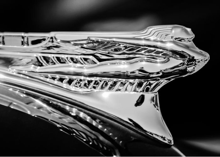 1946 Desoto Greeting Card featuring the photograph 1946 Desoto Hood Ornament -169bw by Jill Reger