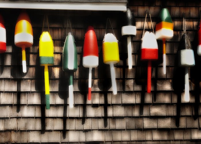 Fishing Gear Greeting Card featuring the photograph 11 Buoys In A Row by Thomas Schoeller
