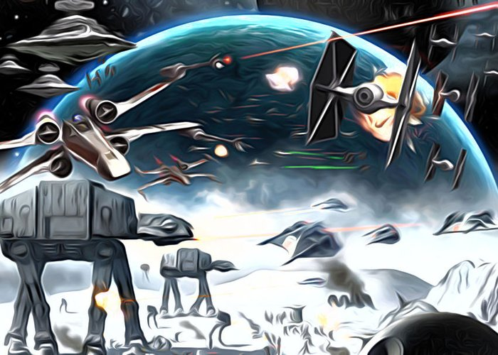 Star Wars Greeting Card featuring the digital art Empire Star Wars Poster by Larry Jones