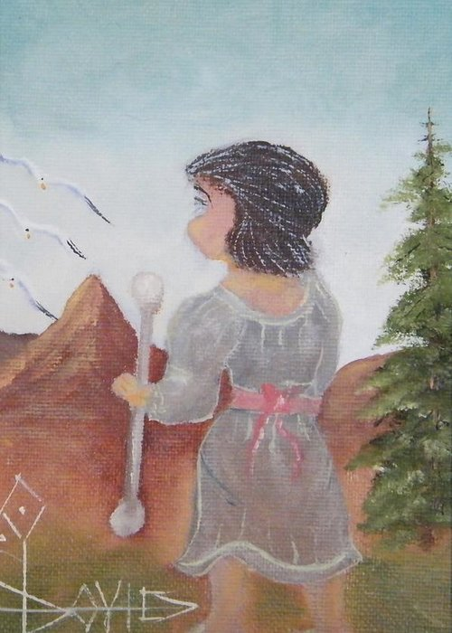 Greeting Card featuring the painting Figure by Larry Doyle