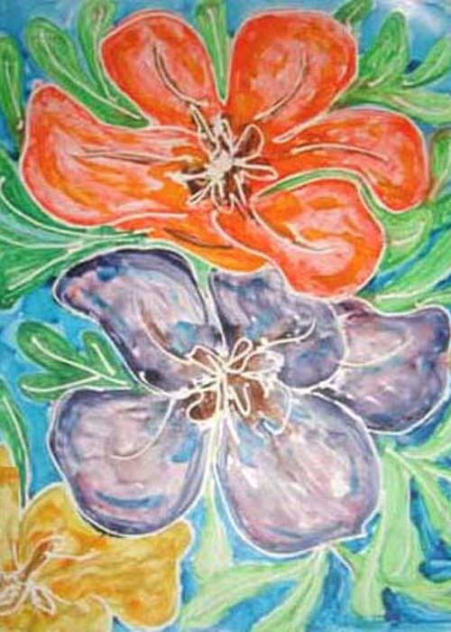 Flowers Greeting Card featuring the painting Flowers by Baljit Chadha