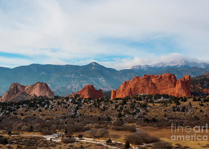 Pikes Peak Greeting Card featuring the photograph Garden Of The Gods And Pikes Peak by Steve Krull
