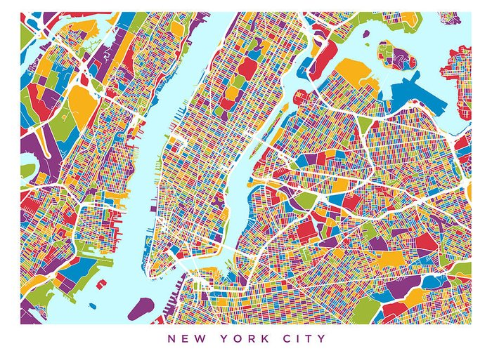 Street Map Of New York City.New York City Street Map Greeting Card For Sale By Michael Tompsett