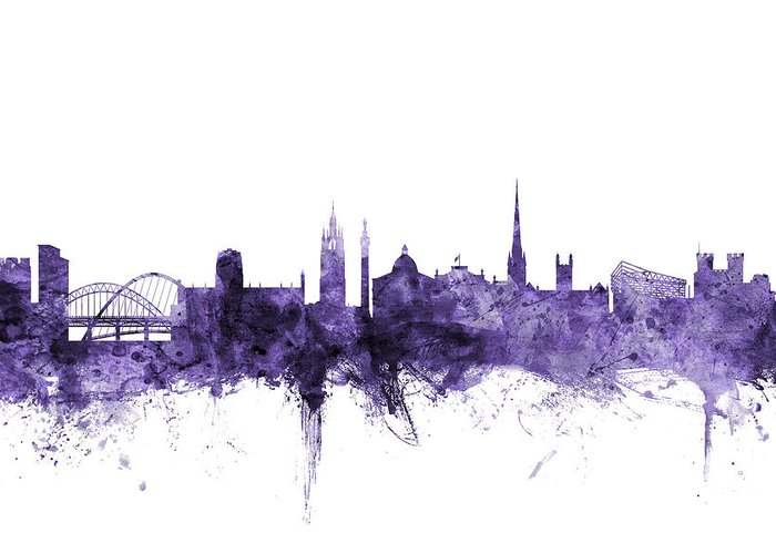 City Greeting Card featuring the digital art Newcastle England Skyline by Michael Tompsett