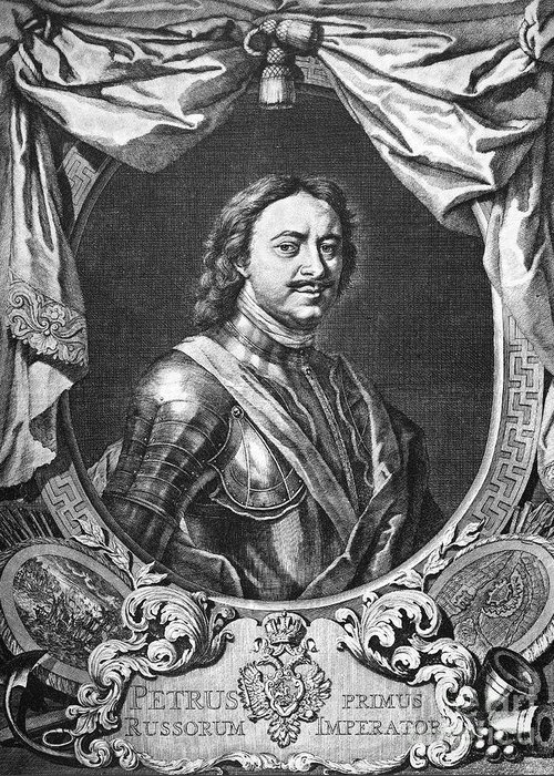 18th Century Greeting Card featuring the photograph Peter I (1672-1725) by Granger